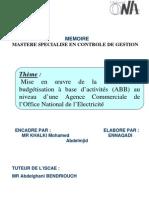 Mise en oeuvre de la méthode de budgétisation à base d'activités (ABB) au niveau d'une Agence Commerciale de l'Office National de l'Electricité