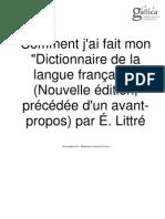 LITTRE Comment j'Ai Fait Mon Dictionnaire