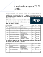 Listas de aspiraciones para 7º, 8º, 9º año 2013