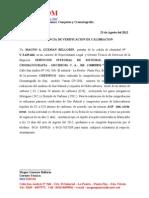 Carta Calibracion Inpeluz Agosto 2012