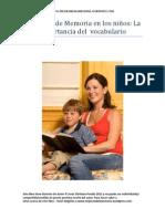 Ejercicios de Memoria en los niños, la importancia del vocabulario
