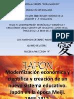 MODERNIZACIÓN ECONÓMICA Y CIENTÍFICA Y CREACIÓN DE UN NUEVO SISTEMA EDUCATIVO. JAPÓN EN LA ÉPOCA DE MEIJI. 1868-1912