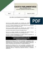 Gaceta Parlamentaria No.17 (31 de Enero de 2013)