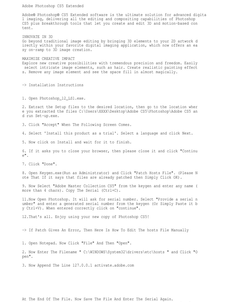 APCS5 - Installation Notes   Adobe Photoshop   64 Bit Computing