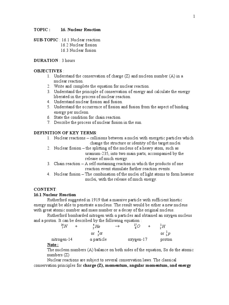 worksheet Nuclear Fission And Fusion Worksheet chapter 16 nuclear reaction fission reaction