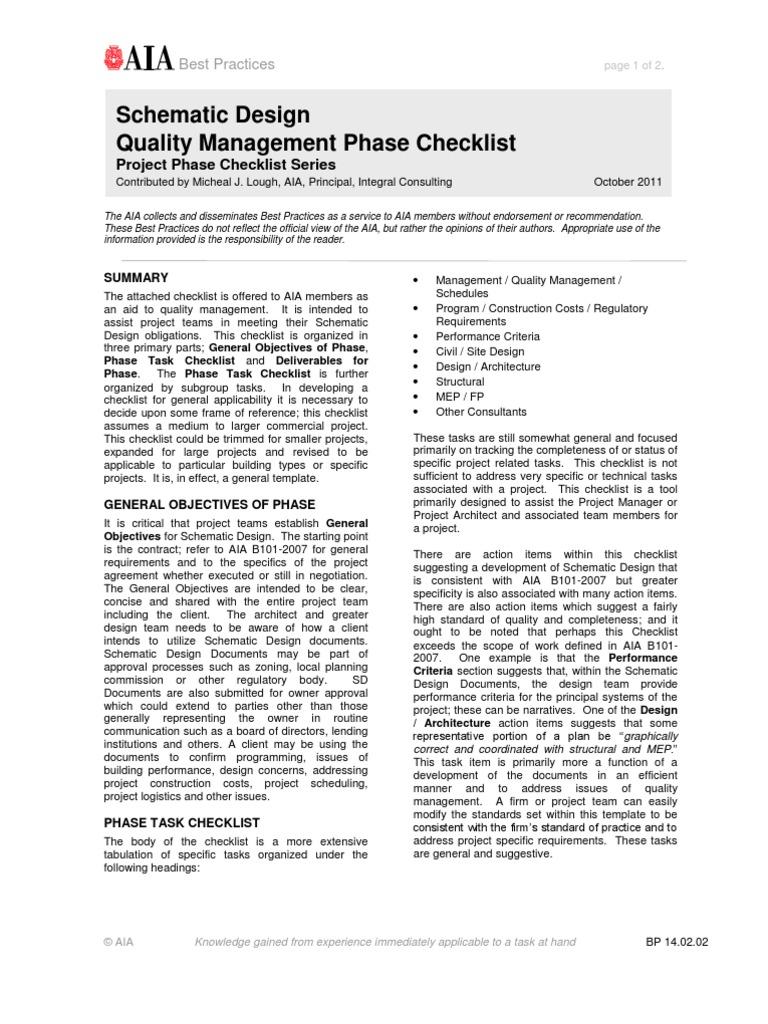 schematic design quality management phase checklist
