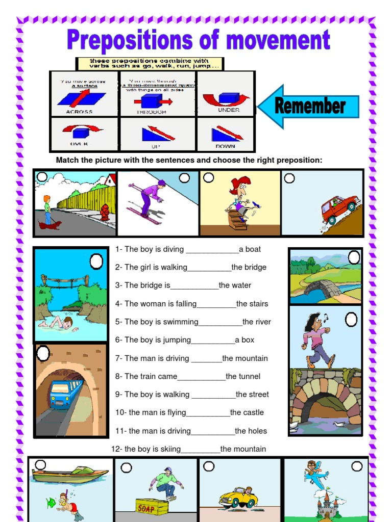 PDF Prepositions of Movement – Preposition Worksheets Pdf