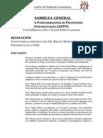 RESOLUCIÓN ASAMBLEA GENERAL APPU Solicita renuncia del Dr. Miguel Muñoz como Presidente UPR