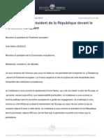 Intervention Du President de La Republique Devant Le Parlement Europeen