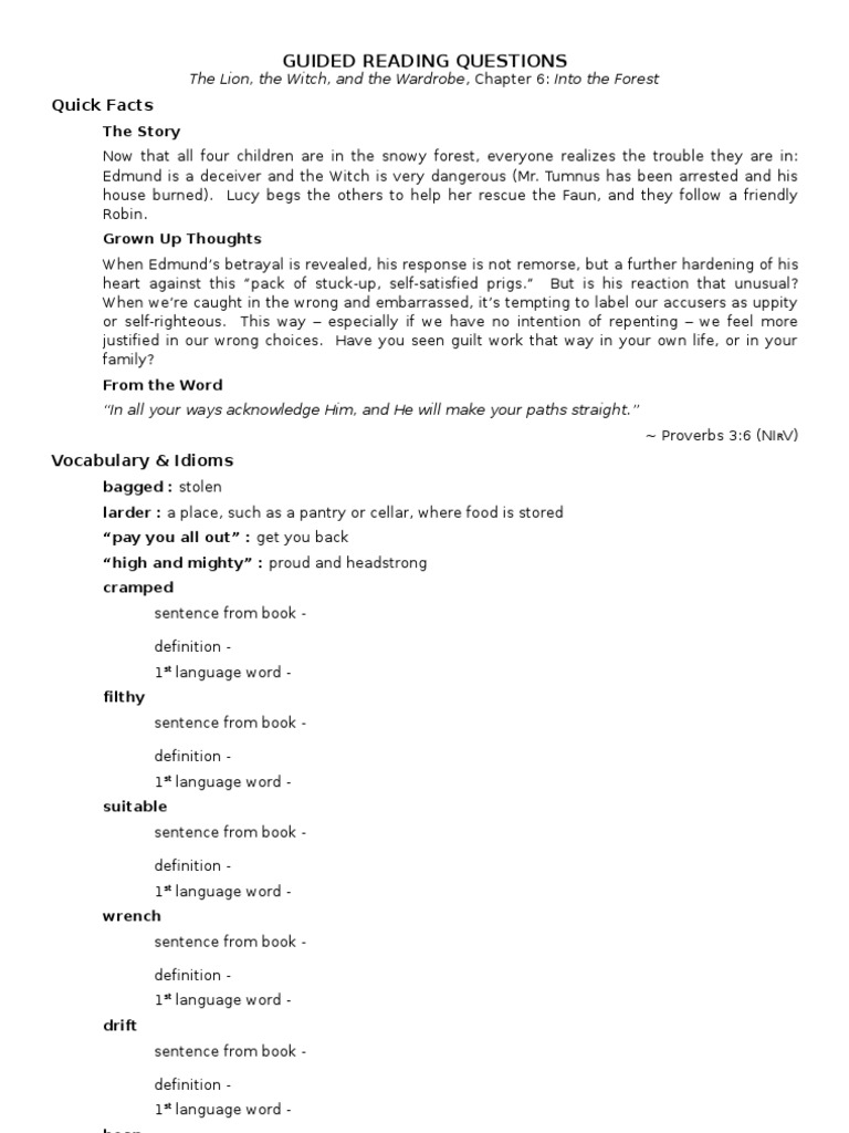 Worksheets The Lion The Witch And The Wardrobe Worksheets the lion witch wardrobe chapter 6 guided reading questions