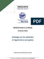 Sondage sur les attitudes à l'égard de la corruption