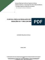 Artigo( O uso da lógica na resolução de problemas de equações do 1º grau -incompletas)