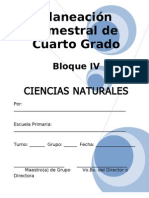 Plan - 4to Grado Bloque IV - Ciencias Naturales