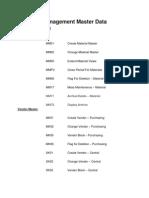 Materials Management Master Data Transactions
