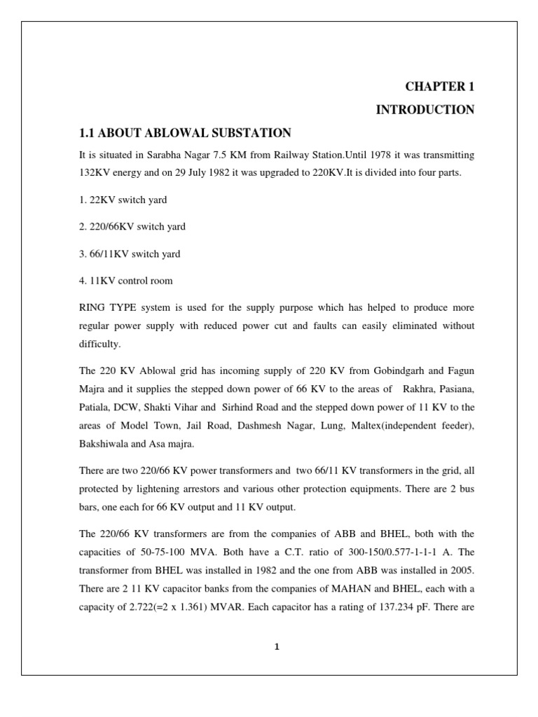 6 month training report on substation | Electrical Substation