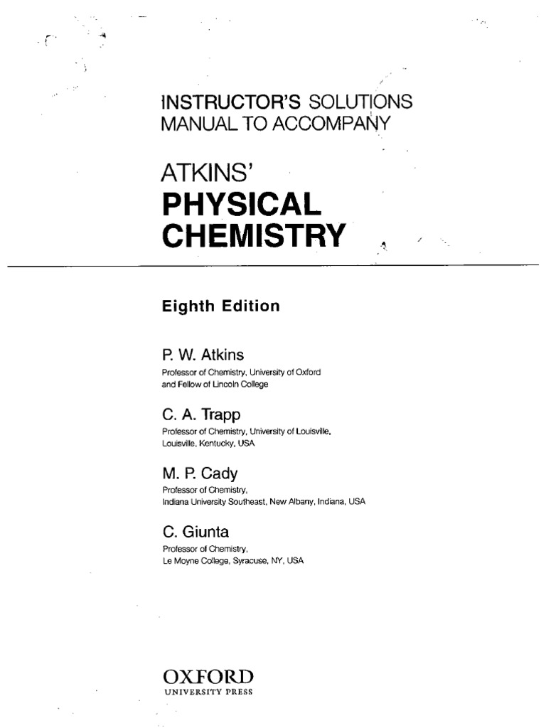 atkins physical chemistry rh scribd com castellan physical chemistry solutions manual General Chemistry Lab Manual