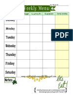 Weekly Menu Plan Printable- March Theme