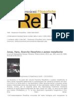 ReF - Jonas, Hans, Ricerche Filosofiche e Ipotesi Metafisiche