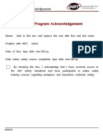 Safety Acknowledgement Form