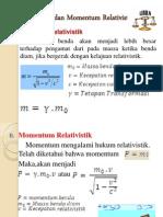 Massa, Energi Dan Momentum Relativistik presentasi