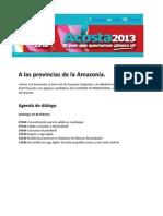 A las provincias de la Amazonía