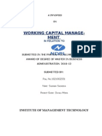 Project Synopsis on NDPL Working Capital Management