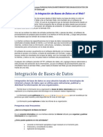Base de Datos, Integracion y Mantenimiento