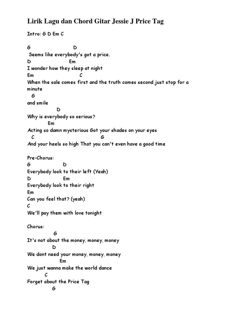 Lirik Lagu Dan Chord Gitar Jessie J Price Tag