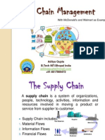 Supply chain management and it's Role in Success of Mcdonalds in India and Walmarts.