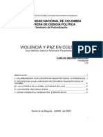 Violencia y paz en Colombia. Una reflexión sobre el fenómeno Parainstitucional - Carlos Medina Gallego
