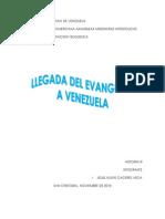 Llegada Del Evangelio a Venezula