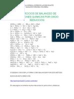 EJERCICIOS DE BALANCEO DE ECUACIONES QUÍMICAS POR OXIDO REDUCCIÓN