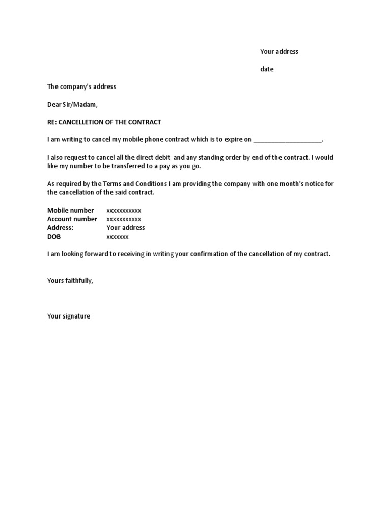 contract cancellation letter sample