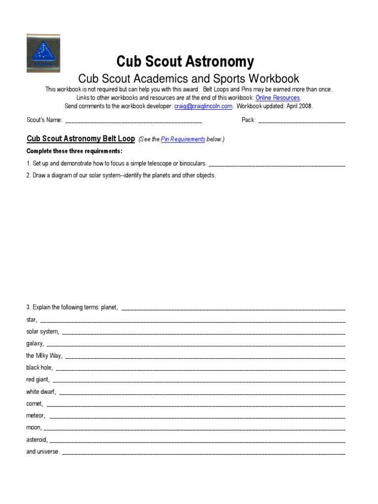 Cub Scout Astronomy Worksheet | Astronomy | Science