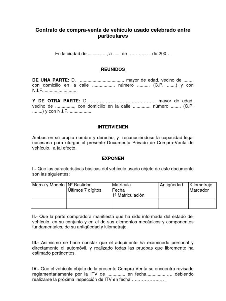 Contrato De Compra Venta De Vehículo Usado Celebrado Entre Particulares Gobierno Política