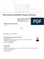 55th Grammy Awards Winners List