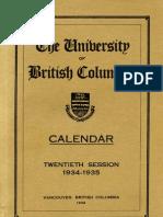 UBC Calendar 1934 35