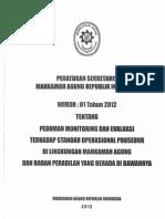 PERATURAN SEKRETARIS MAHKAMAH AGUNG-RI  NO. 01 Tahun 2012 tentang Pedoman Monitoring Dan Evaluasi Terhadap SOP