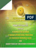 PERATURAN SEKRETARIS MAHKAMAH AGUNG-RI No. 02 Tahun 2012 tentang pedoman penyusunan SOP