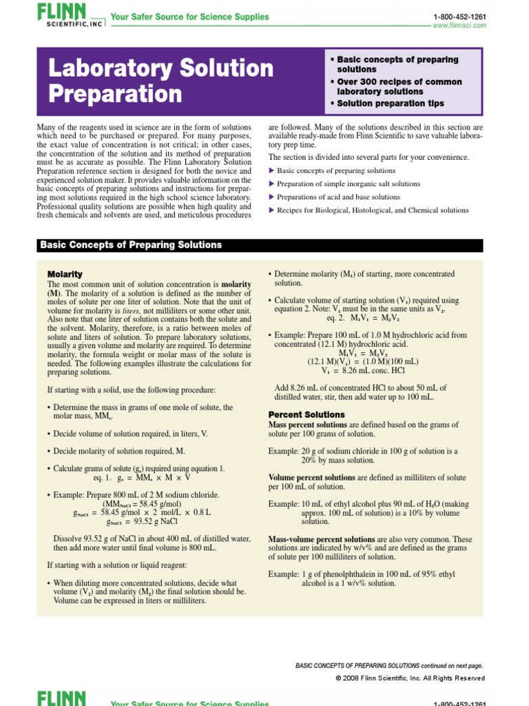 Lab Solution Preperation Guide 1 Molar Concentration Mass Concentration  (chemistry) Calculate Molar Mass How