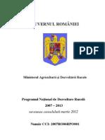 Programul National de Dezvoltare Rurala 2007 - 2013 - Versiunea Martie 2012