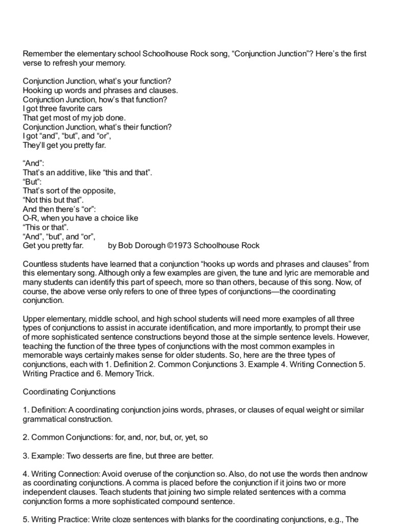 Teaching Conjunctions Sentence Linguistics Clause