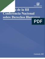 ASIES Memoria de la Conferencia Nacional de Derechos Humanos III, 2005