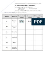 Molecular Models of Covalent Compounds Worksheet