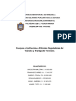 Cuerpos e instituciones  oficiales reguladoras del tránsito y transporte terrestre Vzla