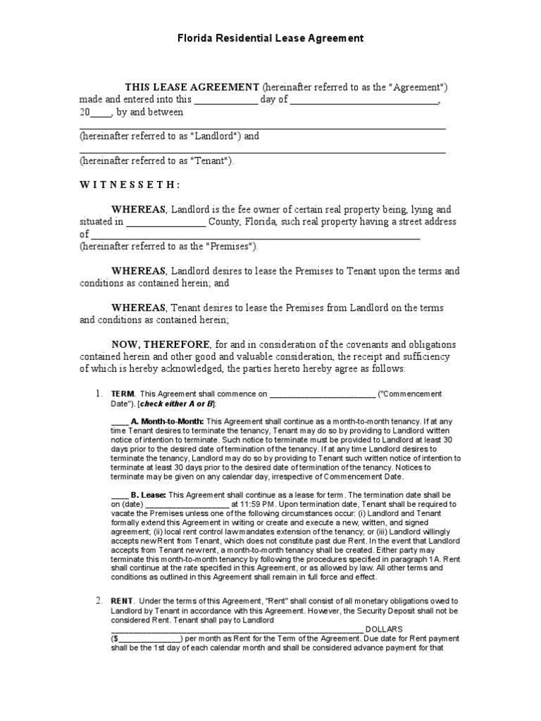 Florida Residential Lease Agreement Leasehold Estate Landlord