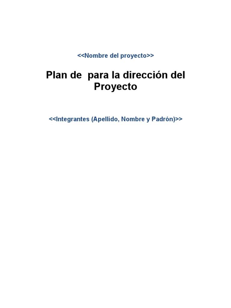 Plantilla Plan de dirección de Proyectos