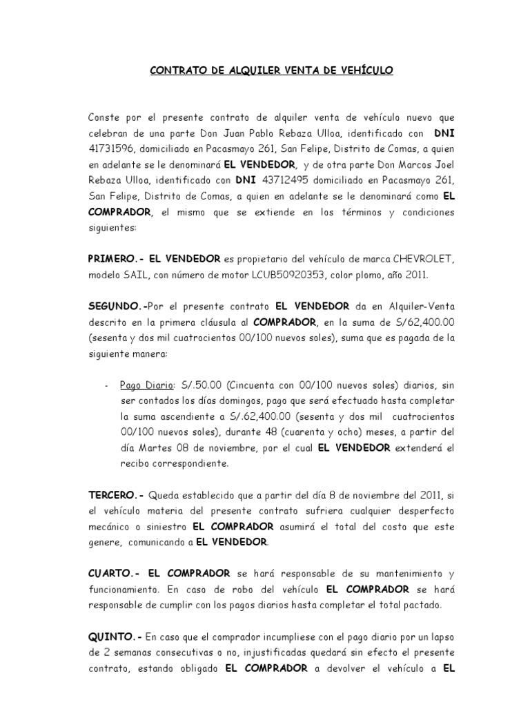 Dorable Plantilla De Acuerdo De Compra Del Vehículo Ornamento ...