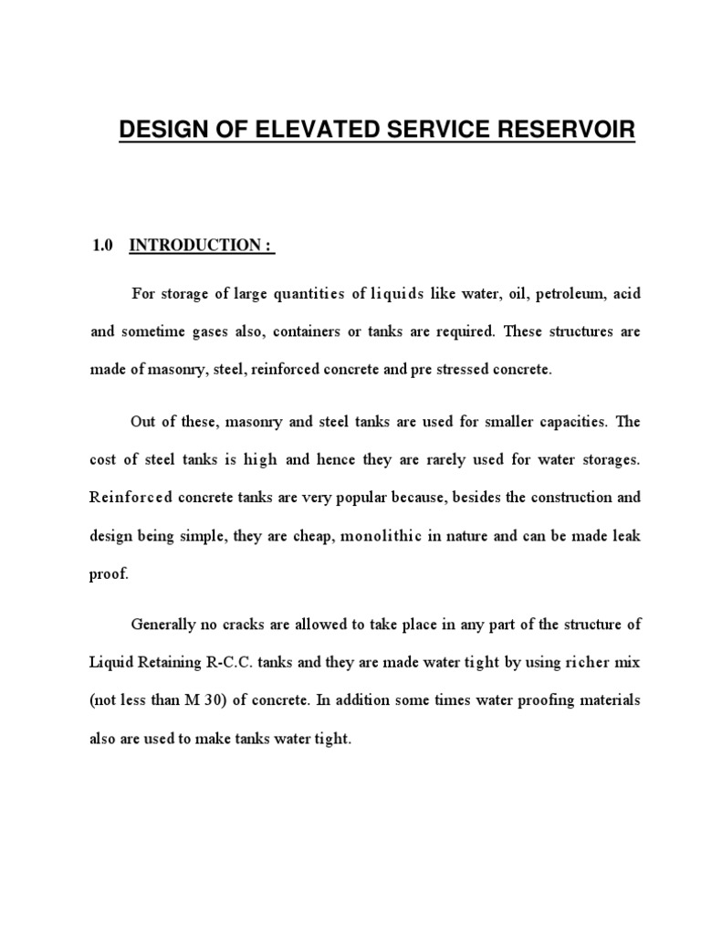 Design of Elevated Service Reservoir | Concrete | Bending