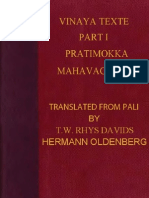 Rhys Davids Thomas William Oldenberg Hermann Tr Vinaya Texts Part I 444p